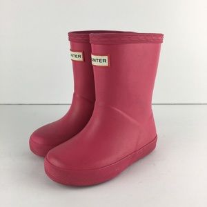 Kids Pink Hunter Boots Size US 7B/8G